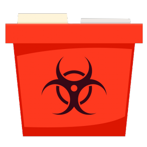 A red medical waste disposal container