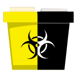 A yellow and black chemotherapy medical waste disposal container