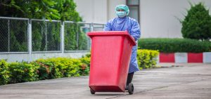 Taking out the different medical waste types for disposal