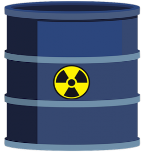 Sealed container used to collect and store radioactive medical waste