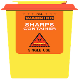 Sharps container marked with biohazard symbol for collecting needles and syringes